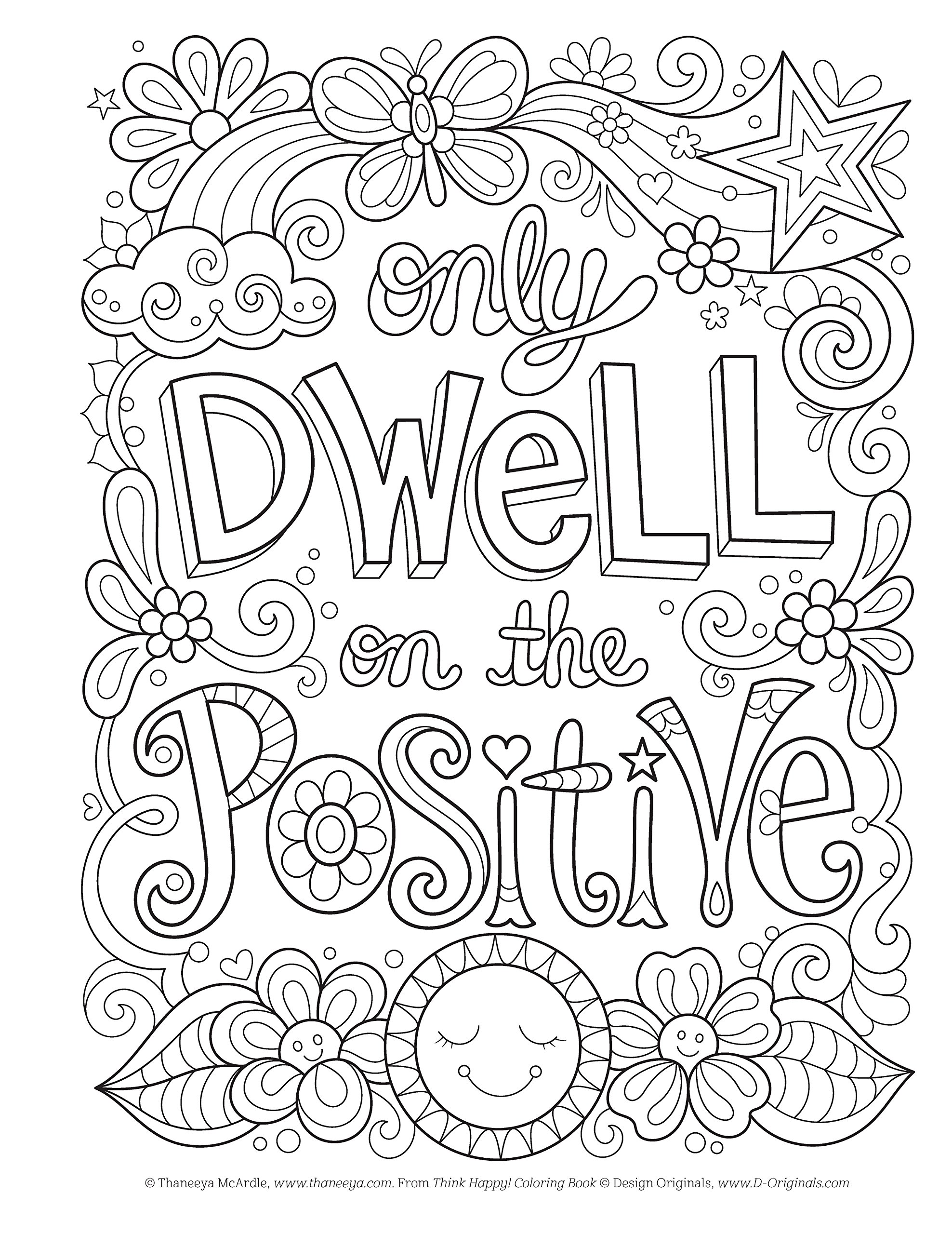 Think Happy Coloring Book Craft Pattern Color Chill Design